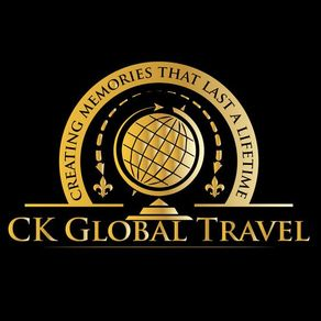 black and gold logo for CK Global Travel